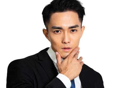 Closeup handsome young man face