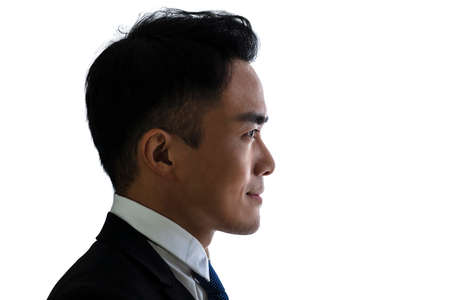 Side view silhouette of Business man isolate on white