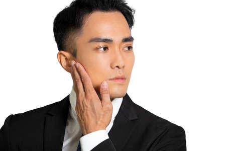 Closeup handsome asian young man face with skin care concept Stok Fotoğraf