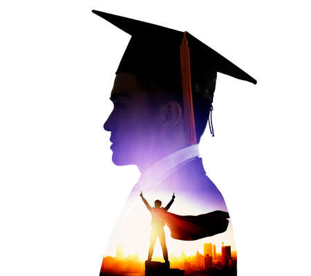 side view of young male graduation with knowledge is power concepts. double exposure Stok Fotoğraf