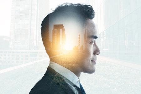 Double exposure of businessman and city view concept Banco de Imagens