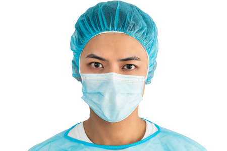 Doctor Wearing Medical Mask and Gloves Isolated
