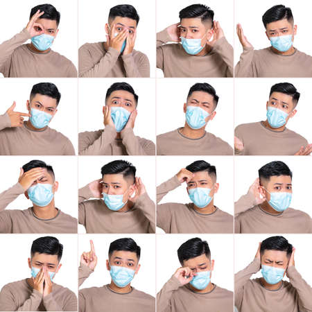 Face expressions of young man in medical mask. Different emotions collection