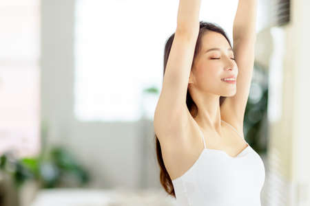 Smiling of cheerful beautiful pretty asian woman with clean fresh healthy skin