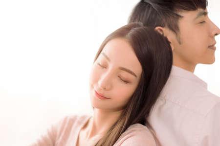 Close up of smiling beautiful young couple Фото со стока