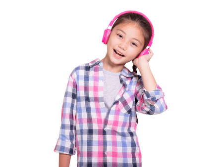 Happy student girl wearing headphones.Isolated on white background.