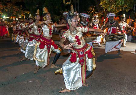 kandy: Female dancers perform during the Esala Perahera in Kandy in Sri Lanka.