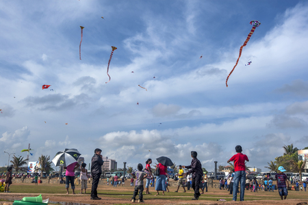 galle: Children fly kites on a busy Sunday afternoon on Galle Face Green in Colombo, Sri Lanka.
