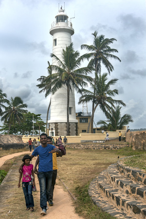galle: A magnificent view looking towards the lighthouse at Point Utrecht Bastion at Galle Fort. Behind the lighthouse which was built in 1938 are the ruins of powder magazine built under Dutch rule. Galle, Sri Lanka. Editorial