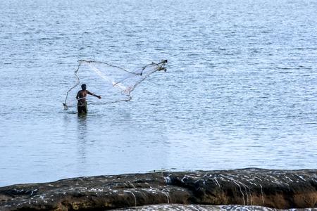 despite: Despite the presence of crocodiles a fisherman casts his net into Panama Tank lake on Sri Lankas east coast.