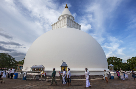 dagoba: Visitors to Kataragama walk around the base of Kiri Vihara, a dagoba that dates back to the 1st century BC. It is believed that Buddha visited this dagoba on his third trip to Sri Lanka and that his hair relic lays within the structure.