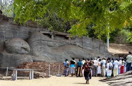 11th: The Gal Vihara at Polonnaruwa which includes a standing and a reclining Buddha statue carved out of a single slab of granite rock. Polonnaruwa was the centrepiece of the Sinhalese kingdom after being established in the 11th century AD.Sri Lanka.