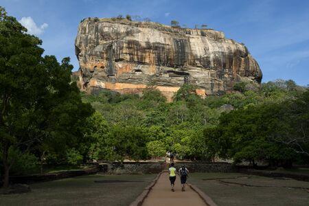 sigiriya: The ancient pathway through the Royal Gardens which leads to the Rock Fortress of King Kassapa 479 to 497 AD at Sigiriya Rock in Sigiriya, Sri Lanka.