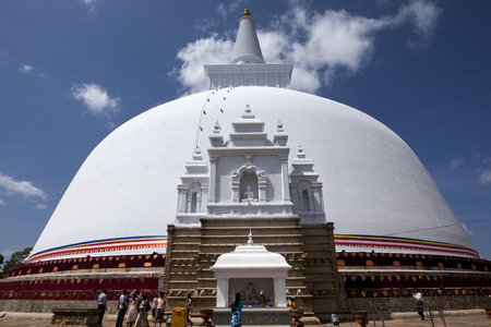 dagoba: The magnificent Ruwanwelisiya Dagoba at Anuradhapura in central Sri Lanka. Its construction began in the 2nd century BC by King Dutugemunu and is 55 metres high.