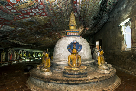 dagoba: The dagoba located inside  Cave 2 Maharaja Viharaya at the Dambulla Cave Temples in Sri Lanka.