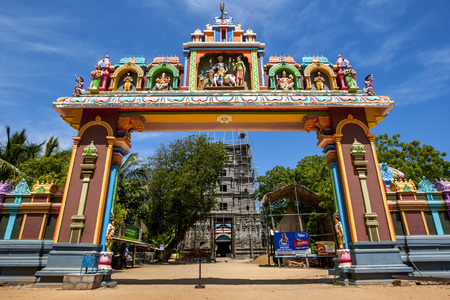 rebuilt: The entrance to Naguleswaram Temple at Keerimalai in the Jaffna region of Sri Lanka. The temple is being rebuilt after being destroyed in the civil war between 2008 to 2009. Stock Photo