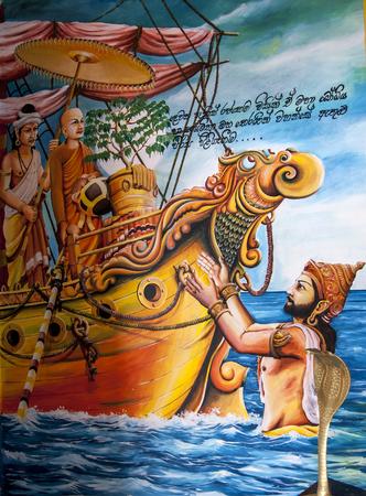 southern sri lanka: A colourful image depicting the arrival of the sapling of the Southern Branch of the Sacred Sri Maha Bodhi tree from India at Dambakola Patuna.  Jaffna region of Sri Lanka. Editorial