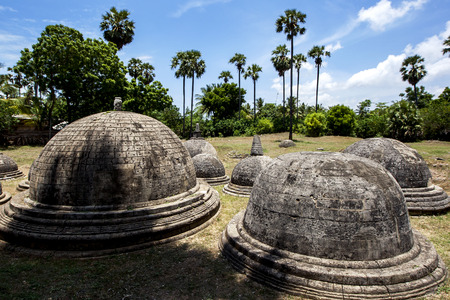 vihara: A section of 20 visible stupas at Kathurugoda Ancient Vihara at Chunnakam in the Jaffna region of Sri Lanka.