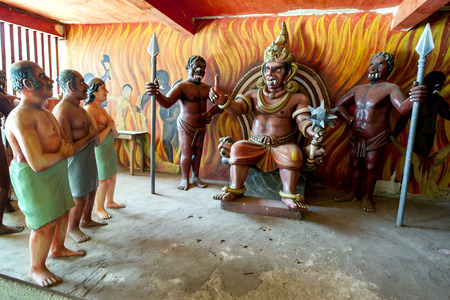 sinners: Sinners prepare to face their punishment in a scene displayed in the Chamber of Horrors at Wewurukannala Vihara at Dickwella, Sri Lanka.