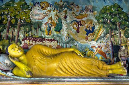 The Laying Buddha statue inside the Image House at Wewurukannala Vihara at Dickwella in Sri Lanka. Editorial