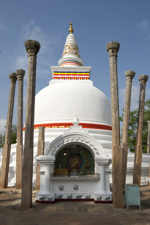 3rd century: The Thuparama Dagoba at Anuradhapura is the oldest dagoba in Sri Lanka. It was constructed by Devanampiya Tissa in the 3rd Century BC and is surrounded by 41 ancient pillars. Stock Photo