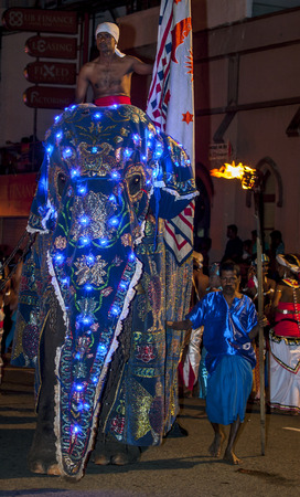 held down: A ceremonial elephant parades down the streets of Kandy during the Esala Perahera in Sri Lanka. The Esala Perahera runs every year in late July or early August for ten days, ending on the Nikini poya full moon. The Esala Perahera is held to honour the Sac
