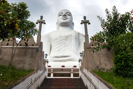 kandy: The magnificent Bahiravakanda Buddha statue which sits atop a hill overlooking the city of Kandy in central Sri Lanka.