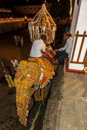 kandy: An elephant is dressed in a ceremonial costume within the Temple of the Sacred Tooth Relic complex in Kandy, Sri Lanka prior to the Esala Perahera. Editorial