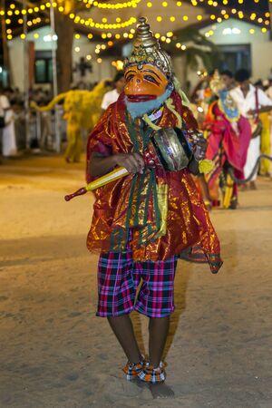 southern sri lanka: A dancer depicting the Hindu monkey god Hanuman performs during the Kataragama Festival in southern Sri Lanka. Editorial