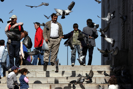 cami: A gathering of people and pigeons at the entrance to Yeni Cami New Mosque in Eminonu, Istanbul, Turkey. Editorial