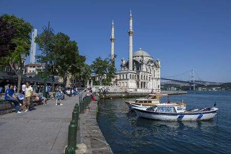 camii: The beautifully designed Ortakoy Camii mosque sits beside the Bosphorus at Ortakoy in Istabul, Turkey. Designed by Nikogos Balyan it was built for Sultan Abdul Mecit III between 1853 and 1855. Editorial