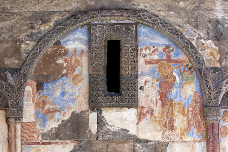 illuminator: A frescoe on a wall at the Church of St Gregory the Illuminator. The church was built by Tigran Honentz in 1215. Ani is located 45 km east of Kars and was constructed in the 10th century by the Bagratid King Ashot 3rd and it became the capital of the Arme Editorial
