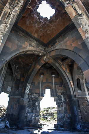 km: A section of the interior of the Church of the Apostles at Ani in the far east of Turkey. Ani is located 45 km east of Kars and was constructed in the 10th century by the Bagratid King Ashot 3rd and it became the capital of the Armenian empire. Stock Photo