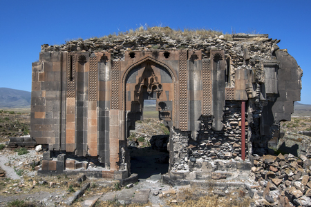 3rd century: The remains of the Church of the Apostles at Ani in the far east of Turkey. Ani is located 45 km east of Kars and was constructed in the 10th century by the Bagratid King Ashot 3rd and it became the capital of the Armenian empire. Stock Photo
