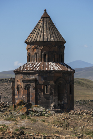 km: The Church of St Gregory at Ani in eastern Turkey. Ani is located 45 km east of Kars and was constructed in the 10th century by the Bagratid King Ashot 3rd and it became the capital of the Armenian empire. Stock Photo