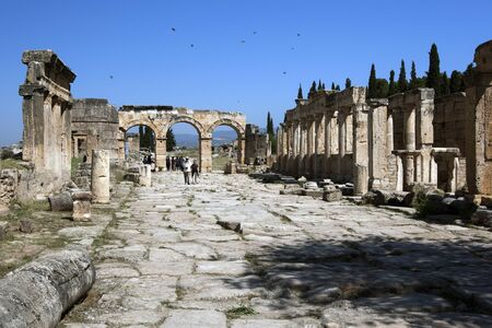 latrine: The ruins of Frontinus Street looking towards the Arch of Domitian in the ancient city of Hierapolis.