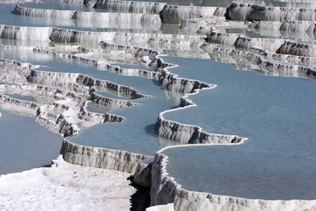 The incredible travertines, otherwise known as Cotton Castle at Pamukkale, Turkey.