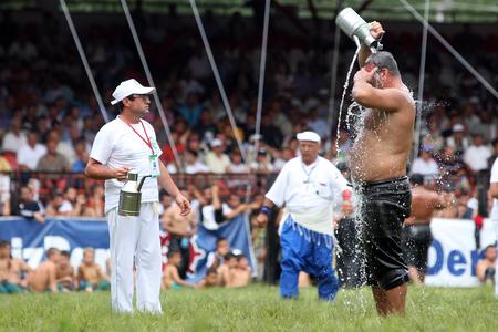 edirne: A wrestler cools down after competing at the Kirkpinar Turkish Oil Wrestling Festival in Edirne in Turkey.