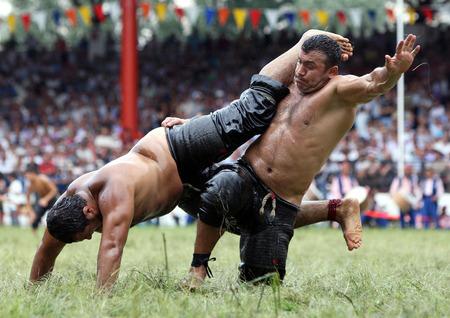 edirne: Heavy weight wrestlers compete at the Kirkpinar Turkish Oil Wrestling Festival in Edirne, Turkey.