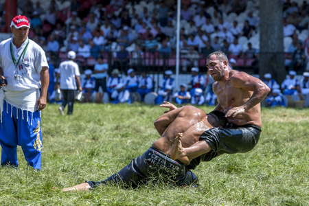 edirne: A heavy weight wrestler is tossed to the ground by his opponent at the Kirkpinar Turkish Oil Wrestling Festival in Edirne in Turkey.
