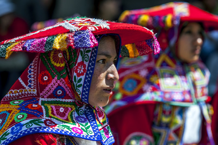 colourfully: Colourfully dressed performers dance at Plaza de Armas in Cusco during the May Day parade in  Peru.