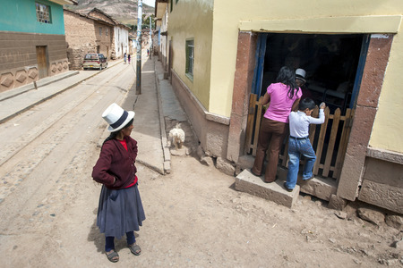 sacred valley of the incas: A corner store in the town of Maras in the Sacred Valley of the Incas in Peru.