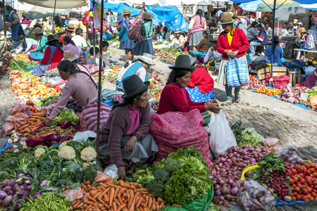 sacred valley of the incas: A colourful selection of  fruit and vegetables at the market in Pisac at the Sacred Valley of the Incas in Peru. Editorial