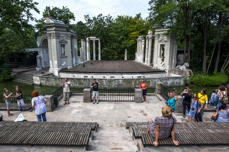 lazienki: The remains of the Stage of the Roman Theatre in Lazienki Park in Warsaw, Poland. Built between 1790 and 1793 it was inspired by ancient Greek and Roman architecture. Editorial