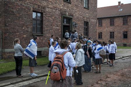 oswiecim: Israeli visitors to the Auschwitz-Birkenau State Museum near Oswiecim in Poland enter Building Number 5. Editorial