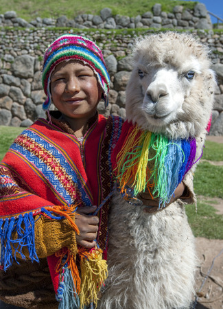 cusco: A boy dressed in traditional Peruvian costume with his llamas at the ancient ruins of Sacsayhuaman near Cusco in Peru. Editorial