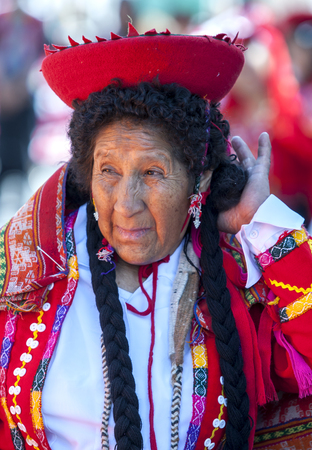 colourfully: A colourfully dressed Peruvian lady performs at the Plaza de Armas in Cusco during the May Day parade in  Peru.