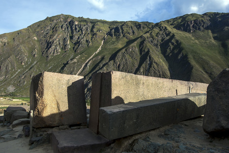 15th century: Giant stone pillars sit on top of  Temple Hill at the peak of the Ollantaytambo ruins. Ollantaytambo was constructed by Incan Emperor Pachacuti as part of his royal estate in the mid 15th century. This is one of the most spectacular set of Incan ruins in