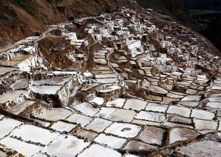 evaporation: A section of the spectacular Maras salt evaporation ponds. Located in the Sacred Valley region of Peru, some 40 kilometres north of Cusco, the ponds have been in use since the days of the Incas. Stock Photo