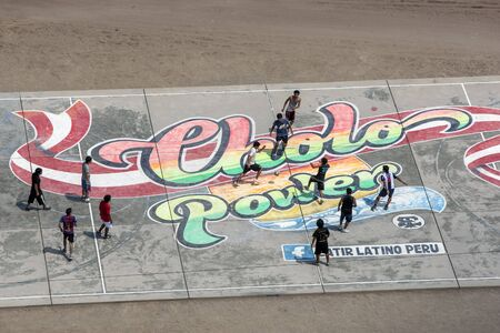 A football game on part of the reclaimed beach in Lima, Peru.